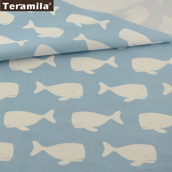 Home Textile White Fishes Design 100% Light Blue Bed Sheet Patchwork Bedding