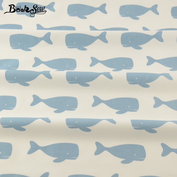 White Cotton Fabric Blue Whales Design  Home Textile Material Bed Sheet Patchwork Crafts