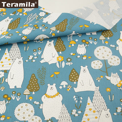 100% Cotton Fabric Twill Home Textile Material Bed Sheet  Patchwork Cartoon Animals Designs