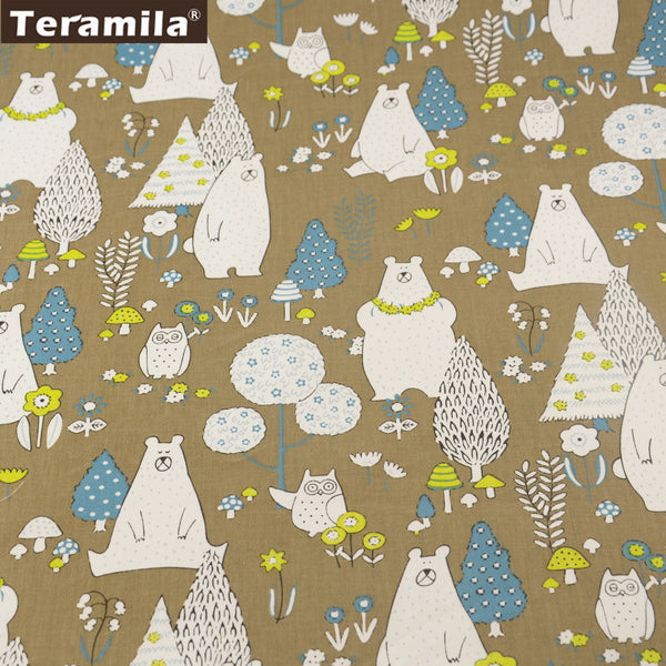 Brown Cotton Twill Fabric Home Textile Material Bed Sheet Patchwork Cartoon Animals Design