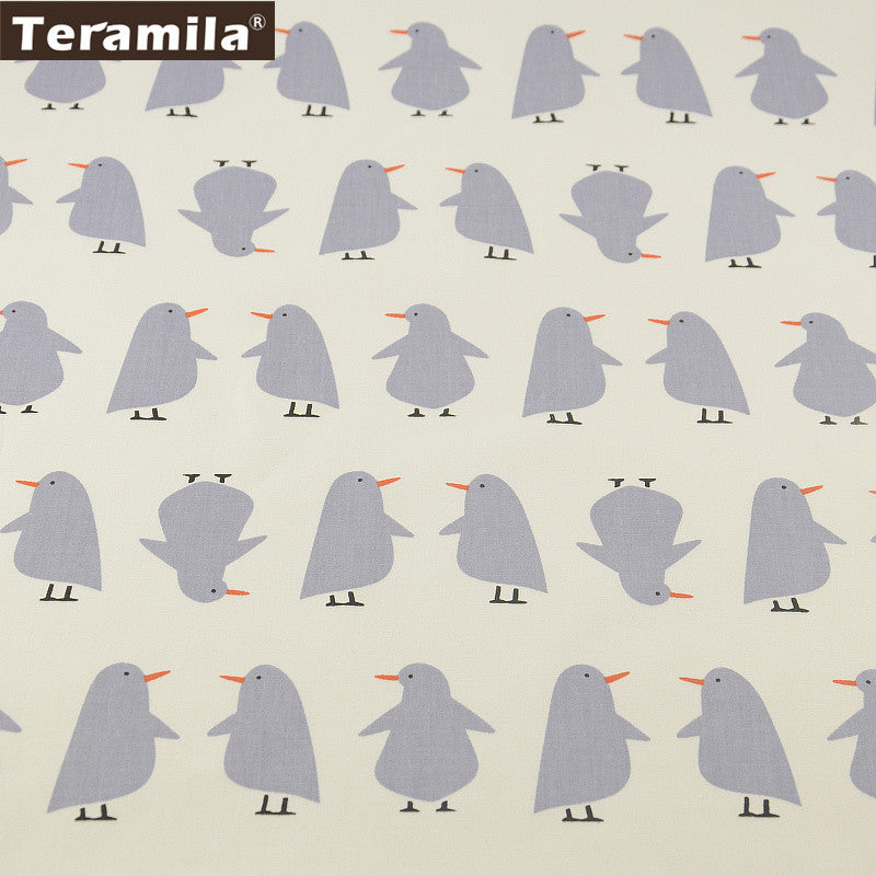 Lovely Grey Penguin Designs Cotton Fabric Home Textile Material Bed Sheet  Patchwork
