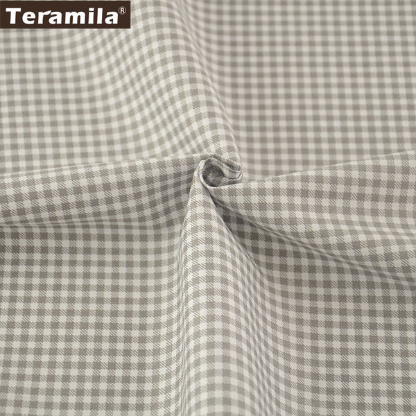 100% Cotton Fabric  Grey and White Checks Designs Home Textile Material Bed Sheet