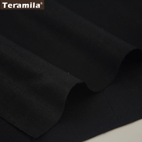 100% Cotton Fabric High Quality Classica Solid Black Color Design Twill Fat Quarter Home Textile