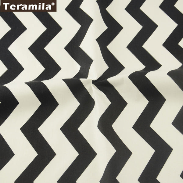 Black Wave Cotton Twill Fabric Teramila Home Textile Sewing Bedding Quilt Cloth Craft Child