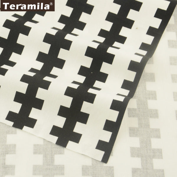 Black Cross Cotton Twill Fabric Teramila Home Textile Sewing Bedding Quilt Cloth Craft