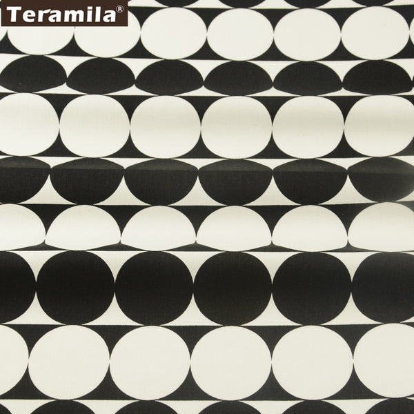 Black Geometry Cotton Twill Fabric Teramila Home Textile Sewing Bedding Quilt Cloth Craft