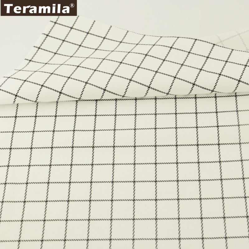 Black Plaid Cotton Twill Fabric Teramila Home Textile Sewing Bedding Quilting Clothing Craft