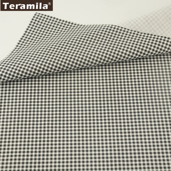 Black Check Cotton Twill Fabric Teramila Home Textile Sewing Bedding Quilt Cloth Craft Child