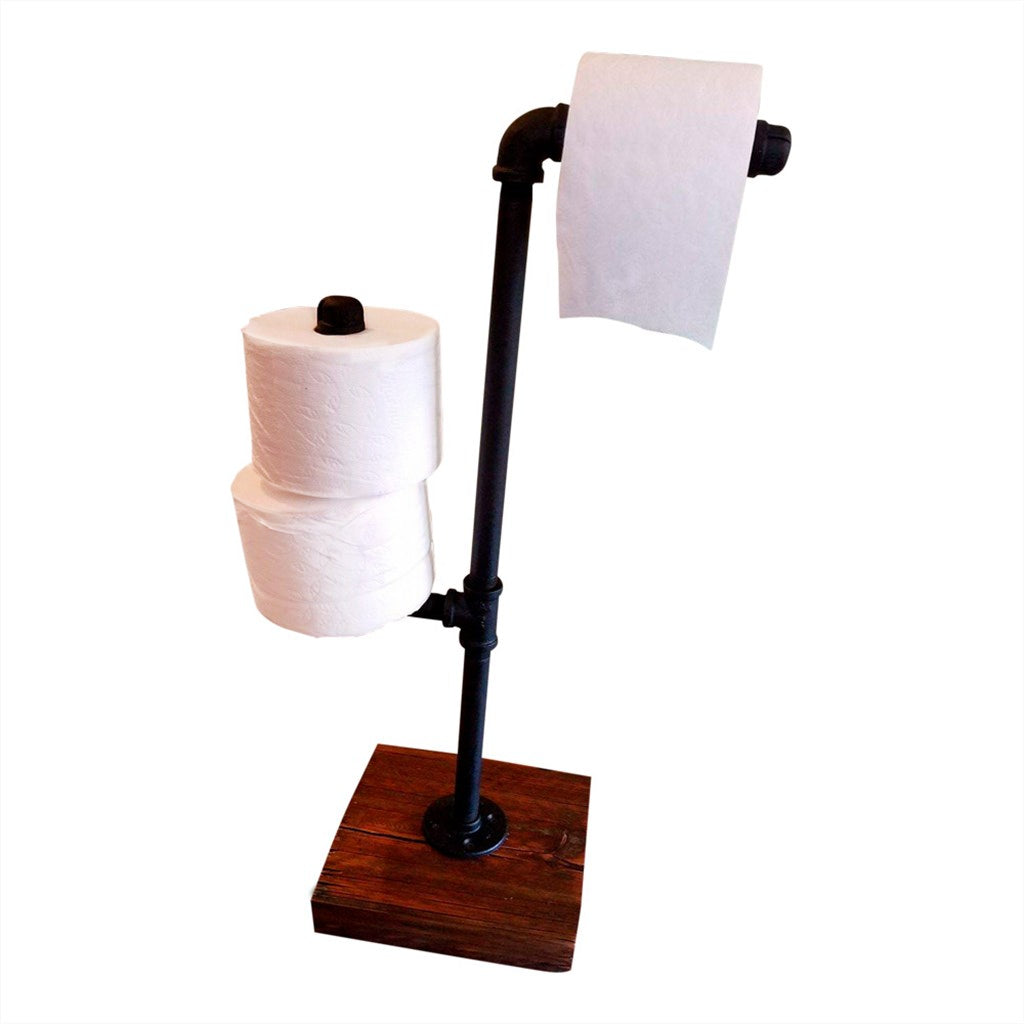 Toilet Paper Holder Stand - Rustic Industrial Toilet Paper ...