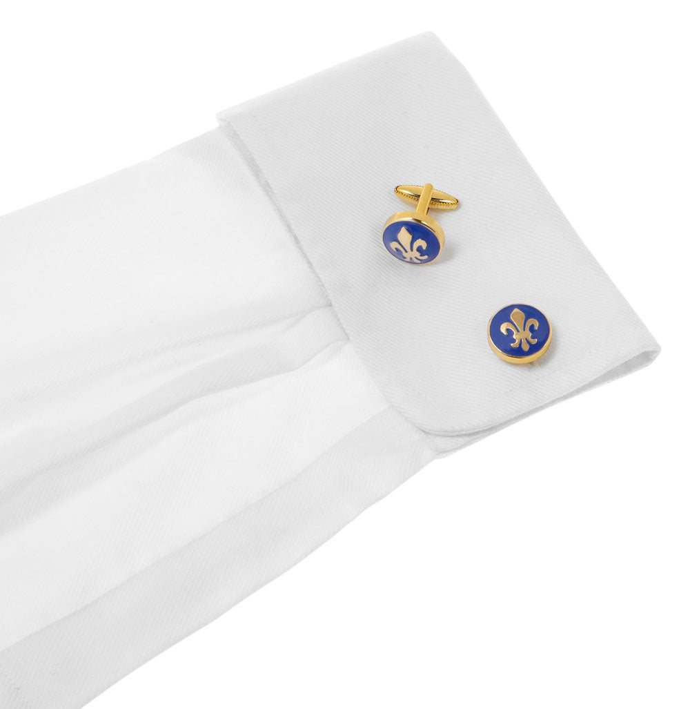 One Fleur de lis cufflink in Gold and blue - Wimbledon Cufflink Company