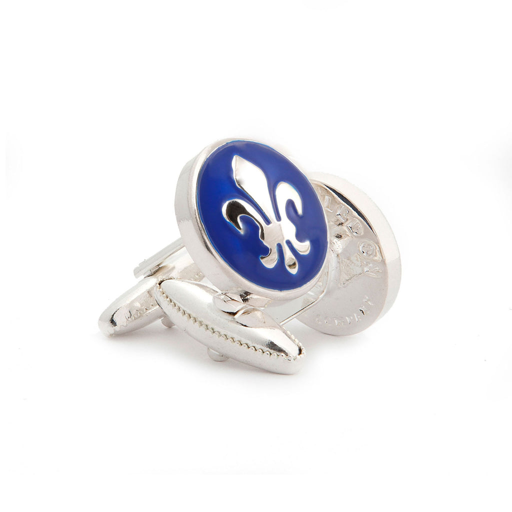 One fleur de lis cufflink in silver and blue
