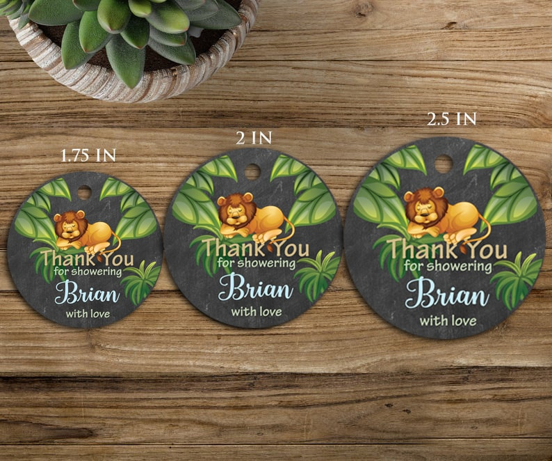 Jungle Safari Baby Shower Tags With Lions Sizes