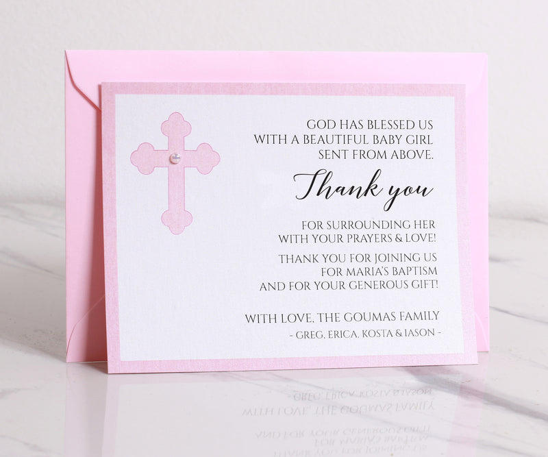 Pink Baptism Thank You Cards for Girls