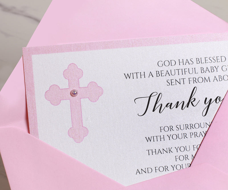 Pink Baptism Thank You Cards for Girls With Envelopes