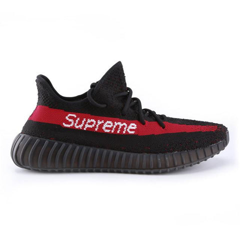 Authentic Supreme X Adidas Yeezy Boost 350 V2 Black Red Men