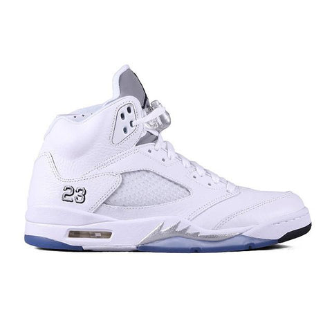 Authentic Air Jordan 5 White Metallic Silver Women