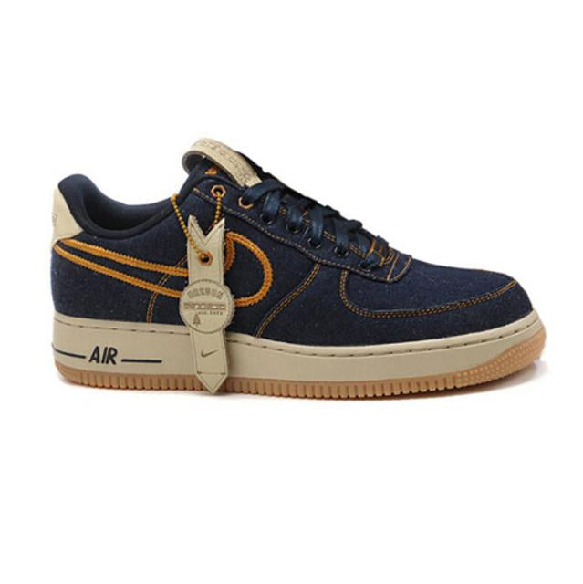 Men's Nike Air Force 1 Low Afro Punk Denim Armory Blue 718152 407 Boys Casual Shoes Sneakers 718152 407