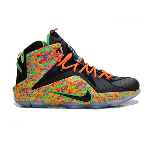 NNK LeBron 12 Elite Fruity Pebbles Black Black Multi Color Men Shoes