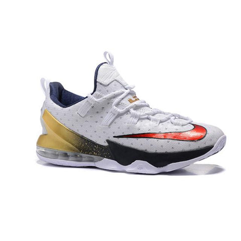 Nike Lebron XIII Low White Obsidian Metallic Gold University Red Men