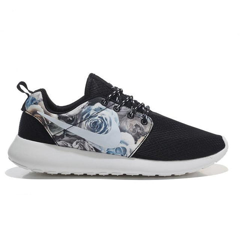 Nike Roshe Run White Black Flower
