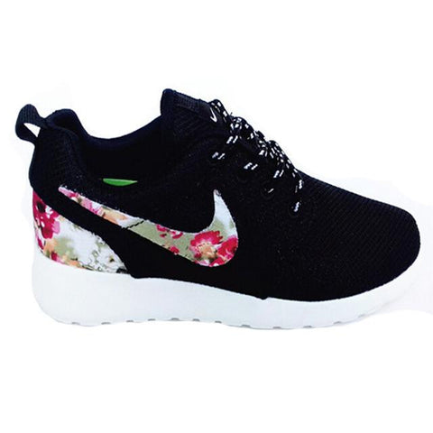 Nike Roshe Runs Shoes Black Pattern Flower Logo