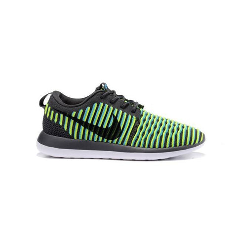 Nike Roshe Two Flyknit Dark Grey Gamma Blue Volt Black Men