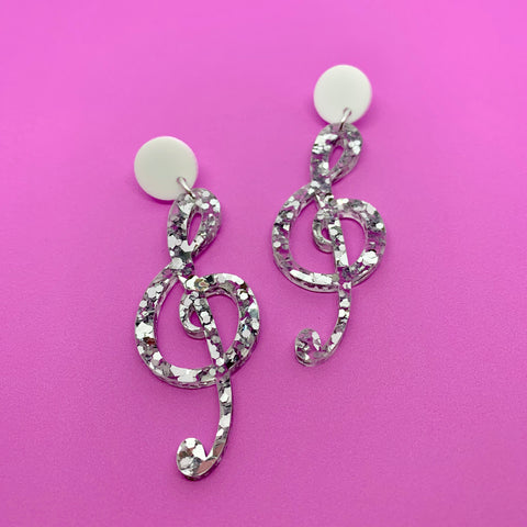 DANGLE - Treble Clef (Black + silver glitz)