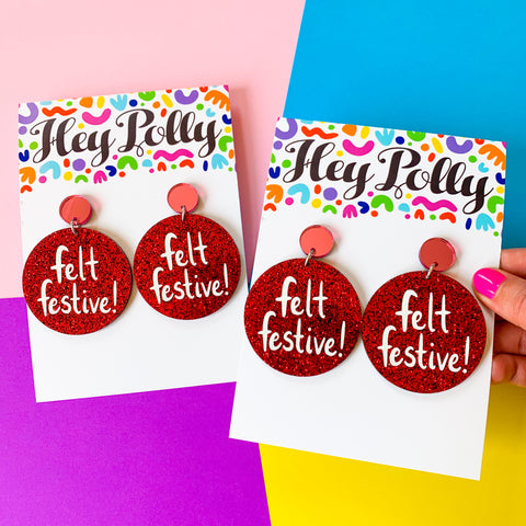 DANGLE - Felt Festive! (Pink mirror + red glitter acrylic hand painted white font)