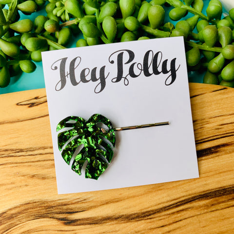 Hair Slide - Monstera (green glitz acrylic)