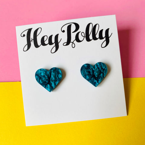 Studs - hearts (blue ripple acrylic)