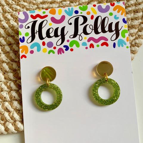 DANGLE - Mini Hoops (Green glitter acrylic)