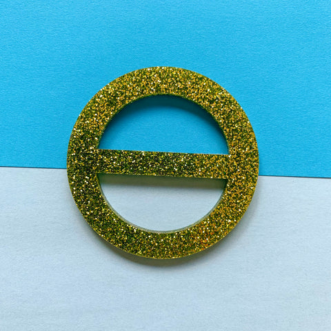 New Wave Tee Buckle - Size Large (Green glitter acrylic)