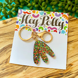 Copy of Key Ring / Handbag Clip - Elsie (rainbow glitter gold hardware)