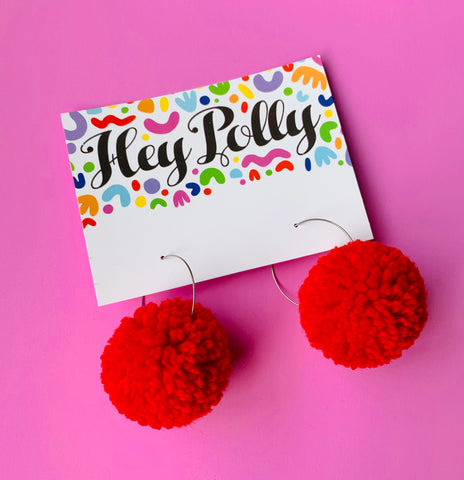 Pom Pom Hoops - Francis (red)