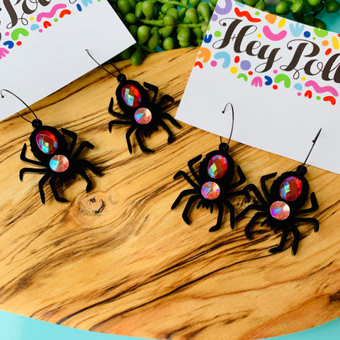 DANGLE - Bedazzled Spider (black acrylic with acrylic rhinestones)
