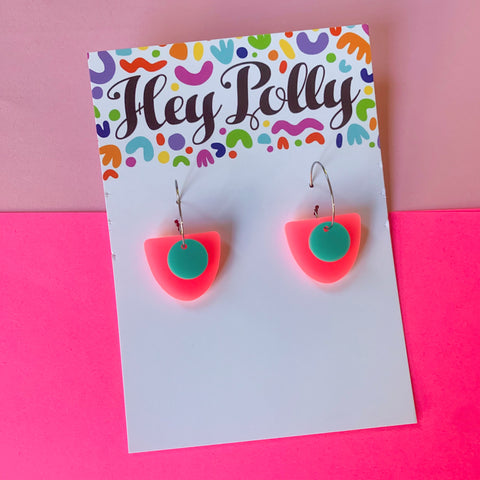 DANGLE - Bonnie Hoops (minty blue + neon pink)
