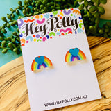 Studs - Rainbow Heart XL - (blue mirror acrylic + printed rainbow artwork)