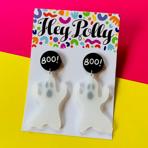 DANGLE - Boo Ghost (Frosted white + black acrylic - hand painted)