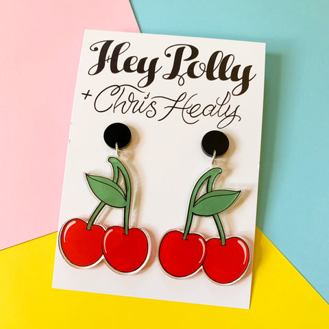 Dangles - Cherries (Hey Polly + Chris Healy Collab) gloss, black acrylic - Discounted due to slight fault see description