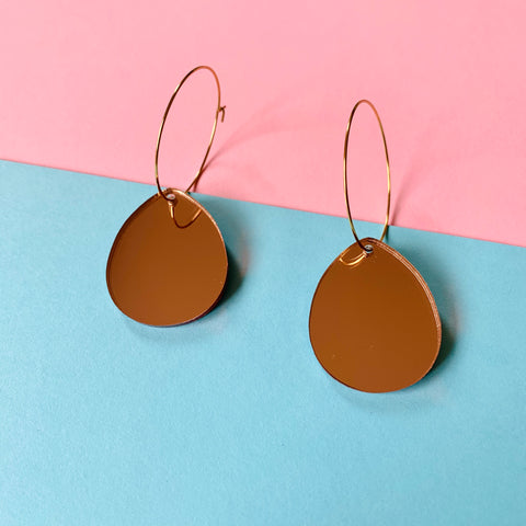 DANGLE - Teardrop hoops (rose gold mirror acrylic)