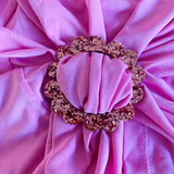 New Wave Tee Buckle - Flower, Size Large (blush pink glitz acrylic)