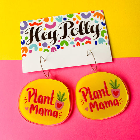 DANGLE - Plant Mama Artwork hoops (gloss acrylic)