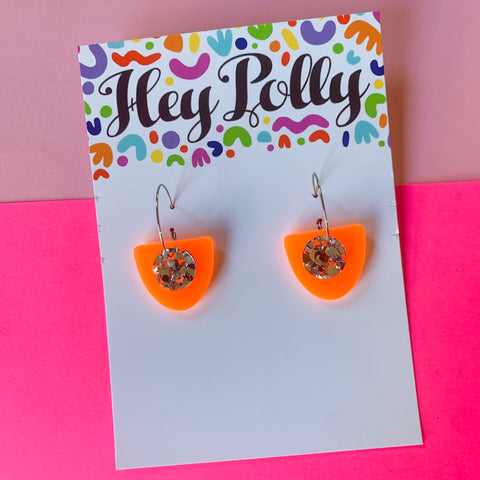DANGLE - Bonnie Hoops (silver glitz + neon orange)