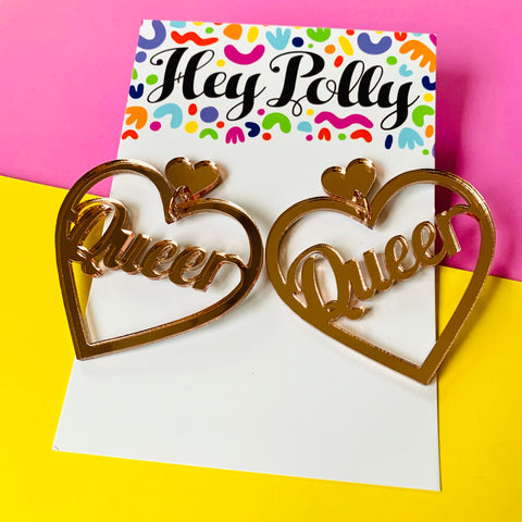 DANGLE - Queer Hearts (rose gold mirror acrylic)
