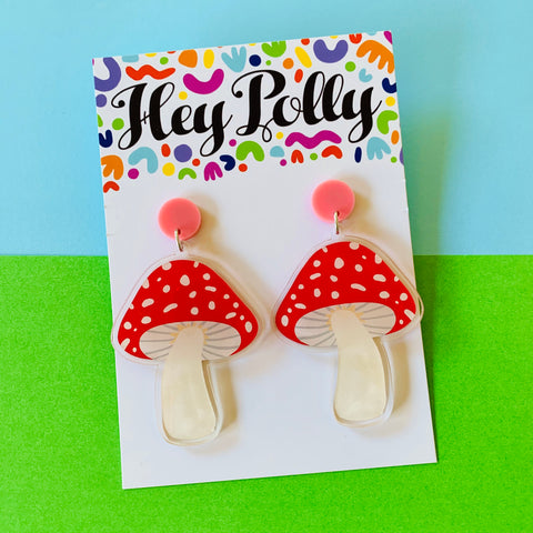 DANGLE - Toadstool artwork (gloss, pastel pink acrylic)