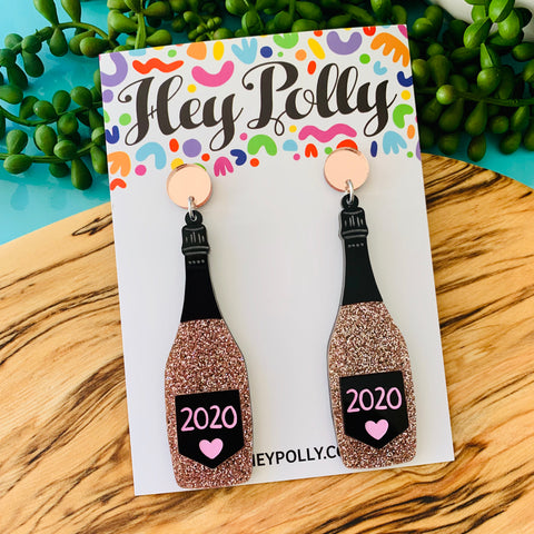 DANGLE - 2020 Bubbly! (Rose gold glitter, black acrylic with hand painted detail)