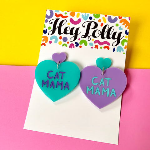 DANGLE - Cat Mama Hearts (pastel - mint + purple acrylic)