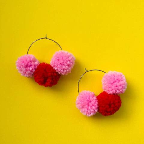 Pom Pom Hoops - Francis Tripple (red + pink)