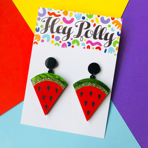 DANGLE - Watermelon - Acrylic (Black detail, forest green marble, green glitter + red acrylic)