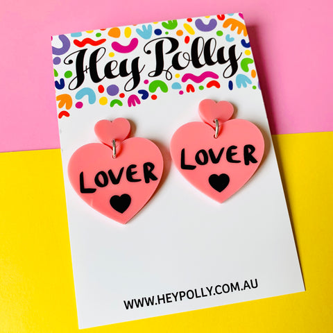 DANGLE -  lover lover Hearts (pastel pink + black hand painted detail)
